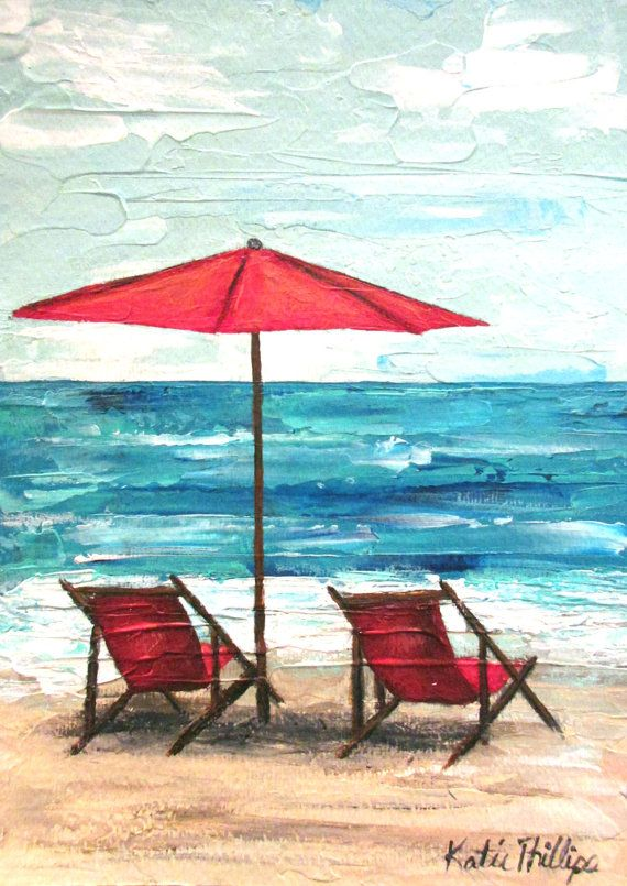 Beach Umbrella And Chairs Original Seascape Painting Summer With