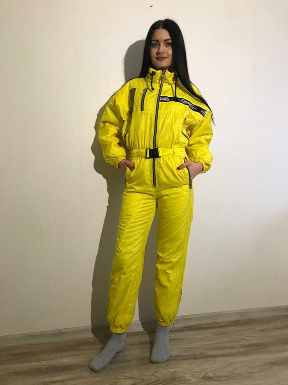 786ea1db278 Vintage 80s 90s Yellow One Piece Ski Suit Yellow Ski Suit Yellow  Snowboarding Yellow Snowsuit Jumpsuit Small Size    Ski suit is medium  water resistant and ...