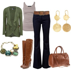 Very cute!Cardigans, Sweaters, Fall Style, Green, Cute Outfits, Fall Outfit, Boots, Belts, Gold Earrings