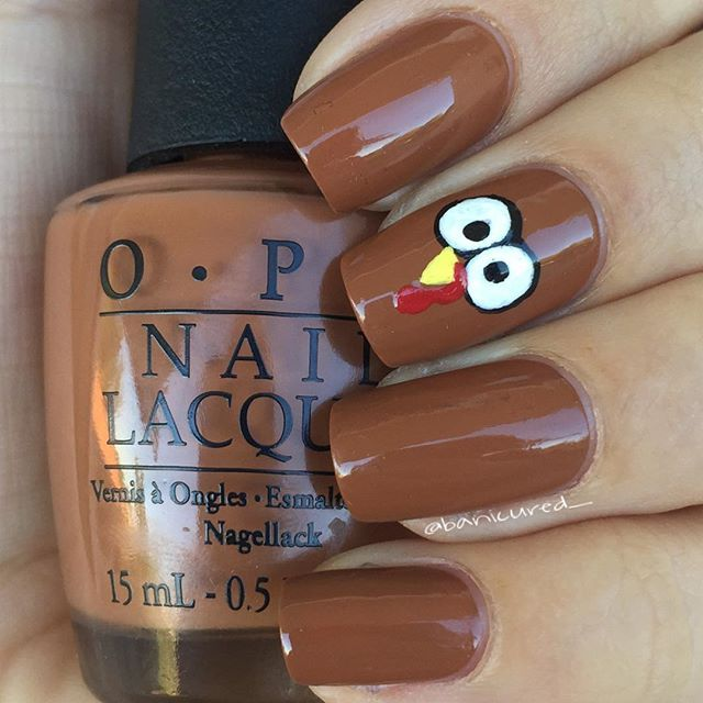 """""""Cute and simple little Thanksgiving turkey ☺️ Base polish is OPI """"A-Piers to Be Tan"""" and details were drawn with acrylic paint """" Photo taken by @banicured_ on Instagram, pinned via the InstaPin iOS App! http://www.instapinapp.com (11/12/2015)"""