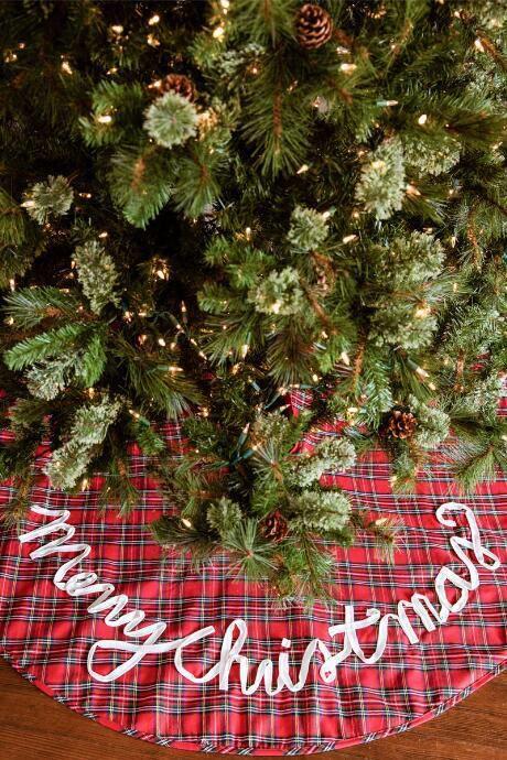 Traditional Christmas tree skirt, country, plaid, nerdy Christmas #ad
