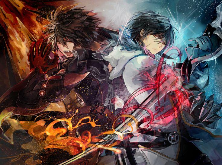 all_male black_hair elsword fire gloves male nameco raven_(elsword) sword weapon yellow_eyes