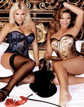 Billie Faiers from The Only Way Is Essex in Vollers Leoty 1904 Corset in Hand Painted Lace Satin.