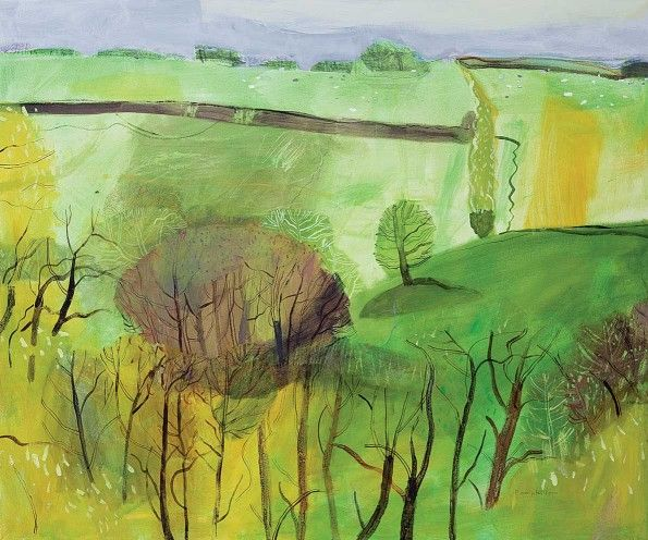 wooded valley ELAINE PAMPHILON  Mixed media on canvas 100 x 120 cm
