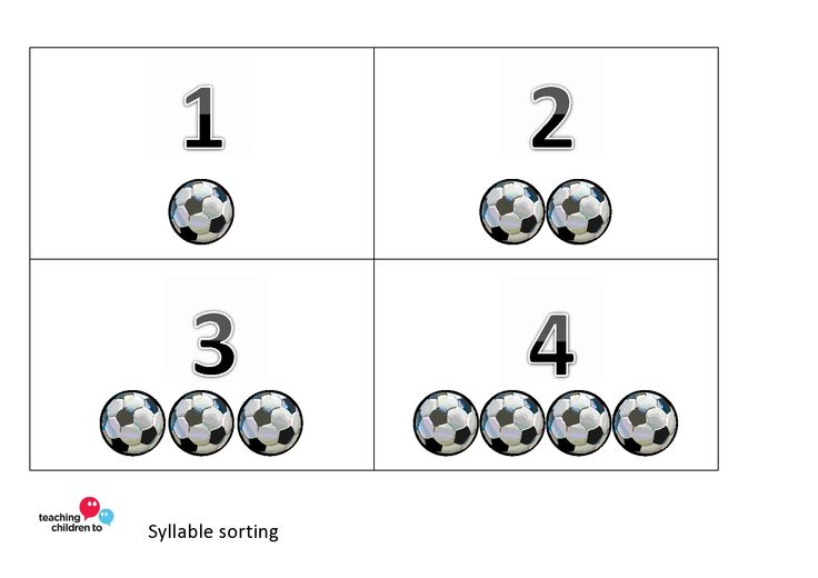 We use these for syllable sorting. Touching the footballs under the numbers as they say each syllable help children to segment the words.