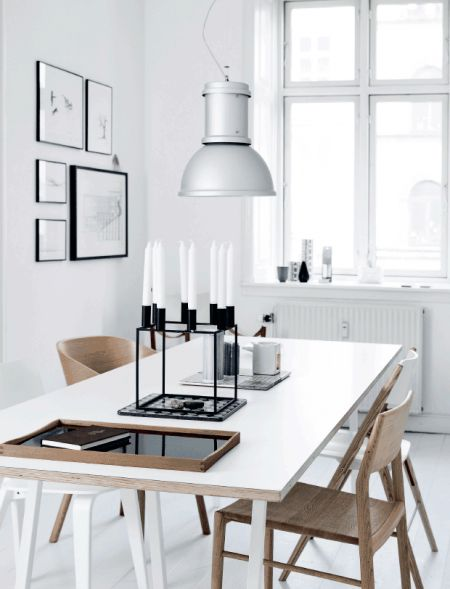 Nordic dining room, black, white and wood. Kubus candle holder
