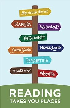 Book Signpost Poster - Young reader version. Reading Takes You Places!