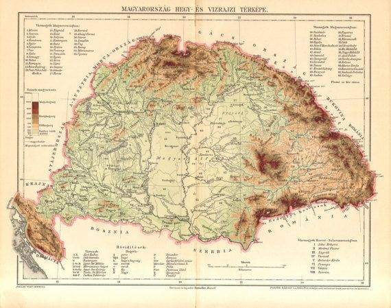 1896 Original Antique Relief Map of Hungary by CabinetOfTreasures