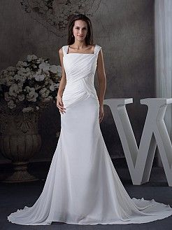 Square Neck Chiffon Pleated Wedding Dress with X Back - USD $168.00