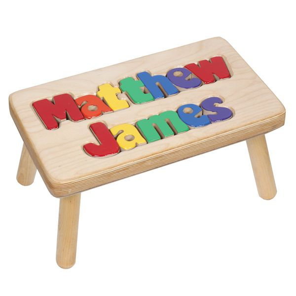 Superb Personalized Childrens Wooden Puzzle Step Stool 2 Names Pdpeps Interior Chair Design Pdpepsorg