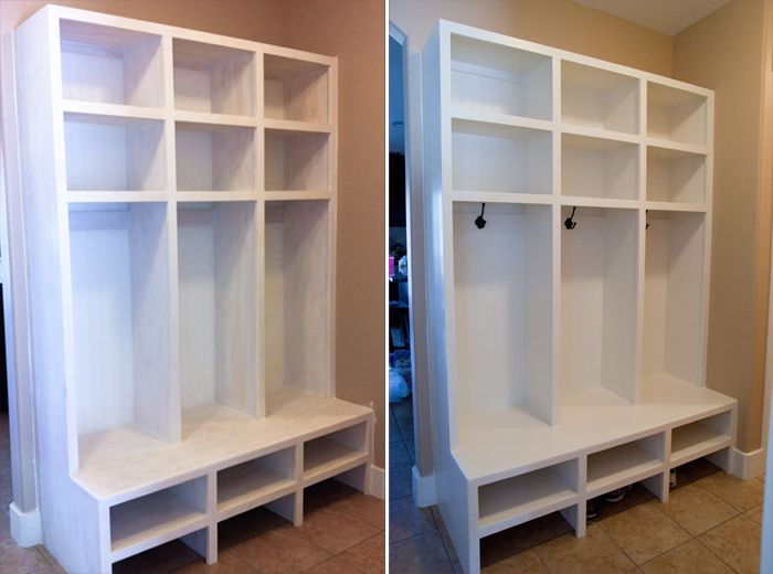 Lockers...one day in my dream home I would love to have a mud room with built in shelving like this!  My heart is happy just thinking about the organization these would encourage!