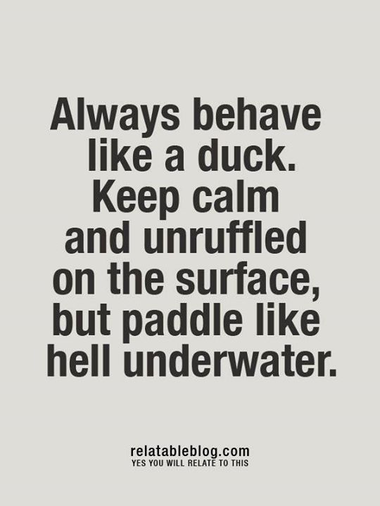 Always behave like a duck. Keep calm and unruffled on the surface, but paddle like hell underwater.