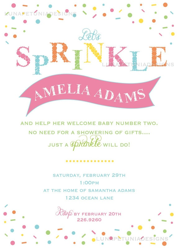 Sprinkles  Baby Shower  Invitation  Any by LunaPetuniaDesigns, $10.50