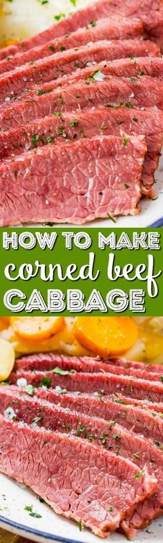 This Corned Beef and Cabbage recipe is a classic Irish dinner perfect for St. Patrick's Day! The meat is brined for 7 to 10 days in savory spices and the brisket becomes tender and flavorful once cooked. #cornedbeef #stpatricksday #beef #recipe #dinner