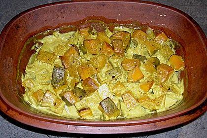 Kürbis mit Kokosmilch und Curry im Römertopf   Chefkoch.de