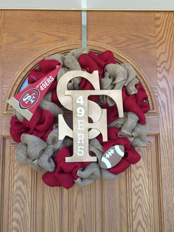 "San Francisco 49ers Red and Natural Burlap Gold ""SF"" with glitter Pennant banner"