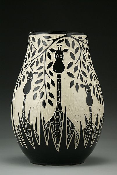 Giraffes In The Wild: Jennifer Falter: Ceramic Vase  - a little bit of fun.