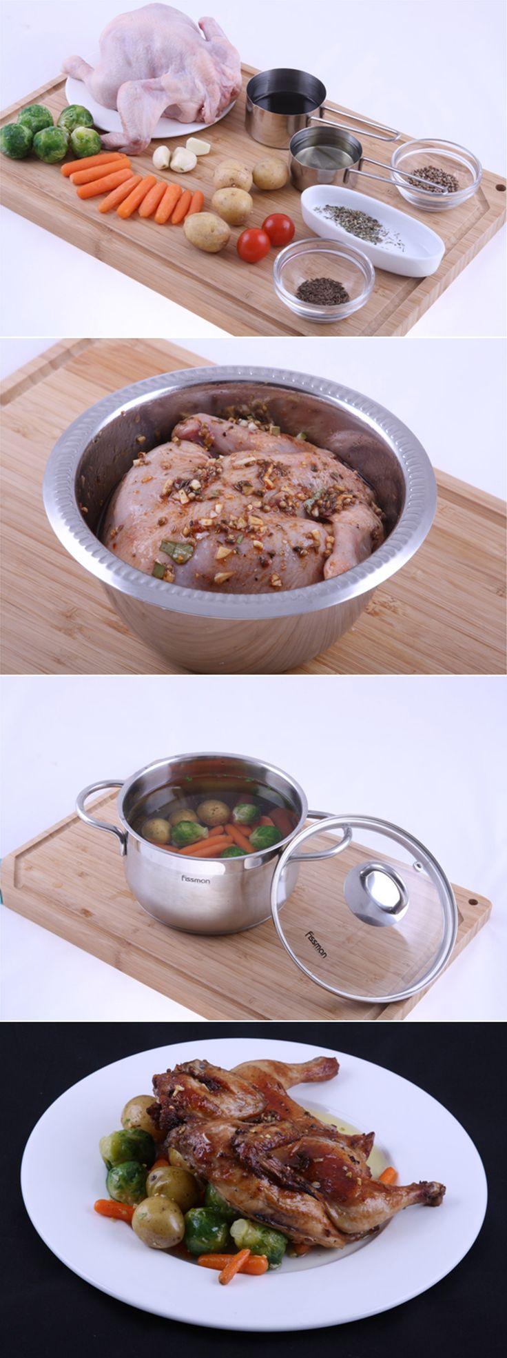 Цыпленок в оригинальных специях  с мини овощами обжаренными в чесноке. Если думаете, что запеченным цыпленком никого не удивить, то вы ошибаетесь. Все будут в восторге!  Рецепт сложностью ниже среднего и временем приготовления 1 час. Полный список ингредиентов и способ приготовления блюда вы можете увидеть в...http://vk.com/dinnerday; http://instagram.com/dinnerday #dinnerday