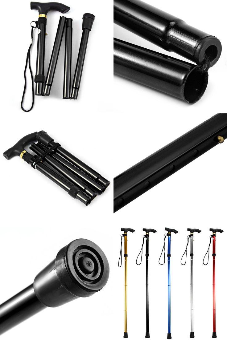 [Visit to Buy] Newest Design Adjustable Aluminum Alloy Metal Folding Cane Walking Sticks Height and Non Slip Rubber Base Walking Stick #Advertisement