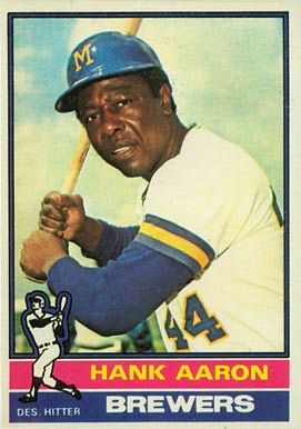 "Topps 1976. ""A baseball card is dually evocative of the player it depicts and the child who once held it."" — Mike Pesca, NPR News. May 4, 2010: Baseb Cards 1976, 1976 Topps, Hanks Aaron, Baseball Cards, Topps 550, Milwaukee Brewers, Milwauk Brewers, Sports, Henry Aaron"