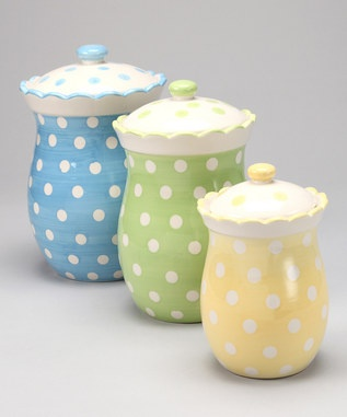 Tea Party Polka Dot Canister - Set of Three.  So cute!