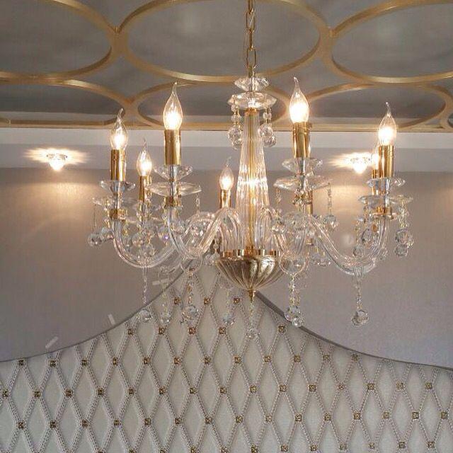 Villa projesi yatak odası avizesi üfleme cam iris cristal