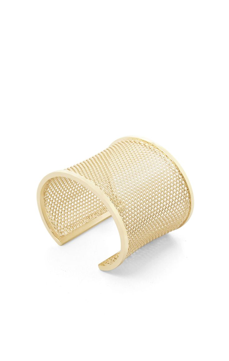A strong cuff is one of the building blocks of an inimitable accessory collection.Wide cuff bracelet.Allover mesh construction.Open back.Gold-tone plated.Mat...