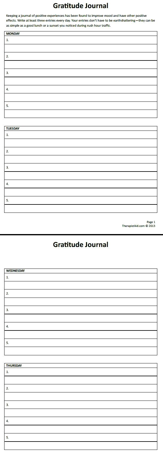 Gratitude Journal Preview + great website for therapists