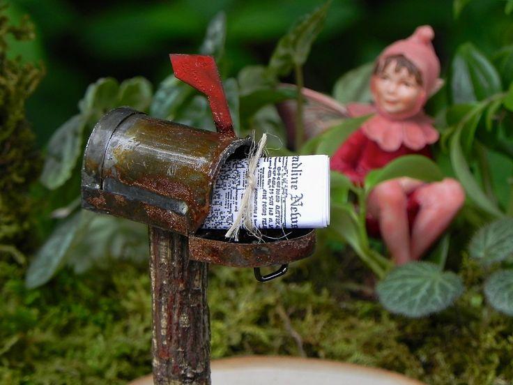 Miniature Mailbox - newspaper - rusty mail box for terrarium or miniature garden accessories
