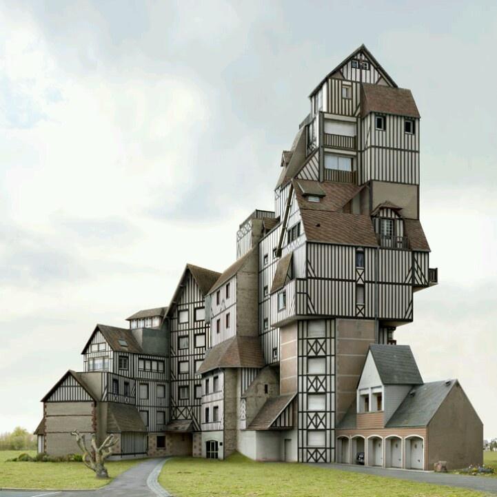 Empilement de maisons immobilier insolite curieux for Immobilier insolite