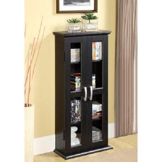 "Media Storage Tower CD DVD Organizer Floor Cabinet 2 Glass Doors 41"" Wood Black #WEDFURNITURE #Contemporary"