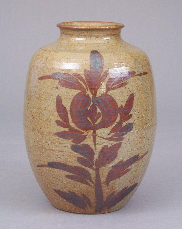 Modern Japanese Iron Glaze Decorated Pottery Tsubo Vase