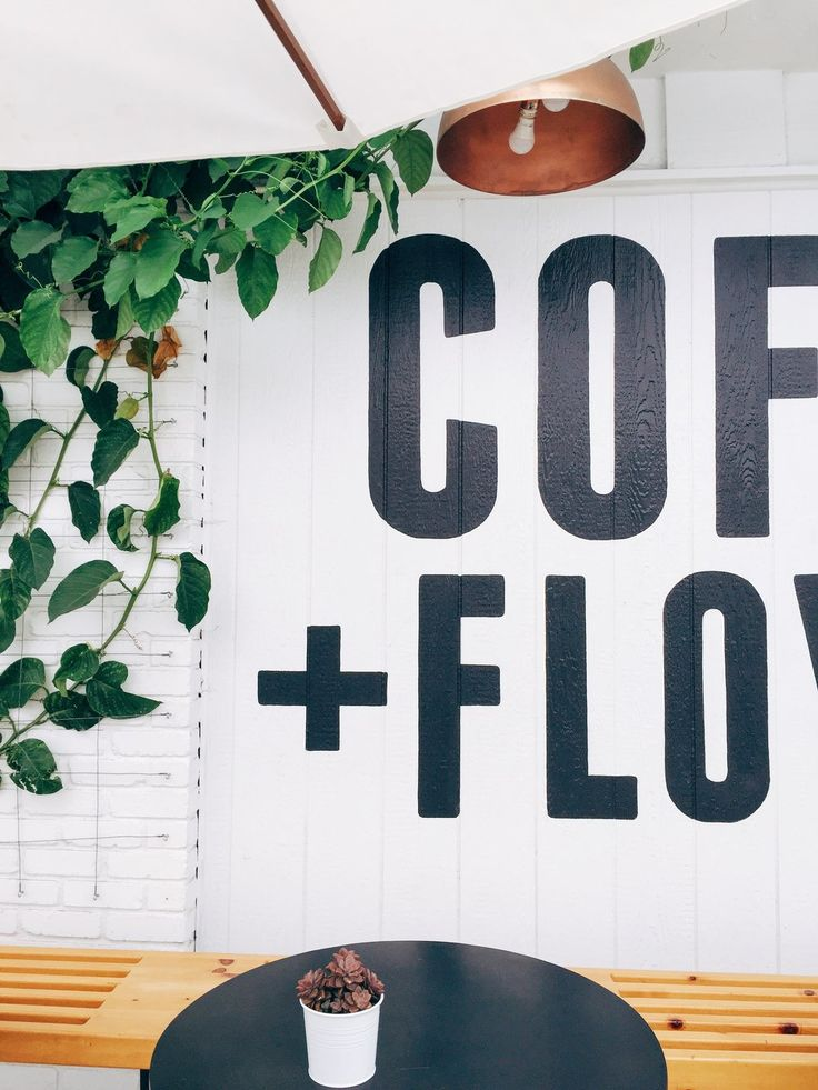 Coffee and Flowers - outdoor sitting area at Communal Coffee/Native Poppy in North Park, San Diego