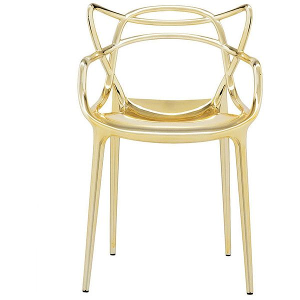 Kartell Masters Chair - Gold (£337) ❤ liked on Polyvore featuring home, furniture, chairs, metallic, contemporary outdoor furniture, outdoor stacking chairs, gold chair, tulip chair and contemporary outdoor chairs
