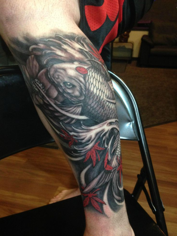 Koi Fish leg finished product, done by Omar at The Truth Tattoo in St. Paul MN. - Imgur