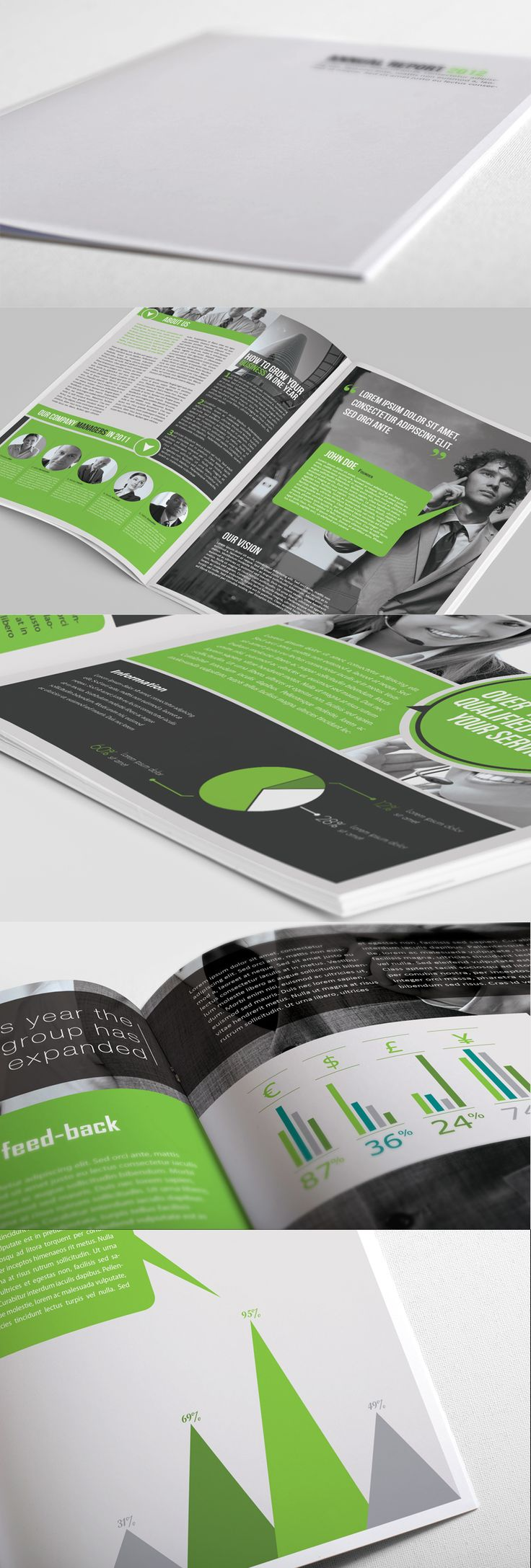 Company Annual Report, consistent use of colours and photo's to create a certain feel and style