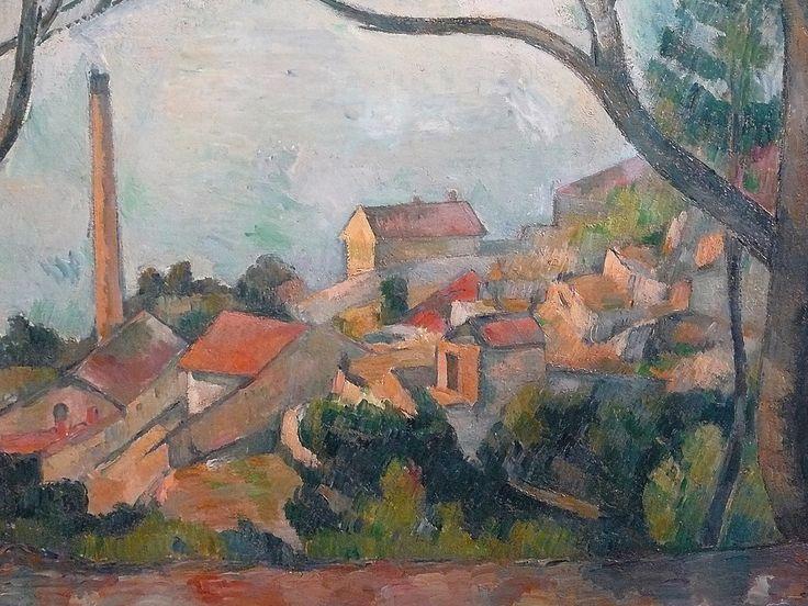 CEZANNE,1878-79 - Mer à l'Estaque, derrière les Arbres - Sea at l'Estaque (Musée Picasso) - Detail -a  -  Cézanne à Pissarro : « J'ai commencé deux petits motifs où il y a la mer, pour Monsieur Chocquet qui m'en avait parlé. – C'est comme une carte à jouer. Des toits rouges sur la mer bleue. Si le temps devient propice peut-être pourrais-je les pousser jusqu'au bout. En l'état je n'ai encore rien fait. » (L'Estaque, 2 juillet 1876)