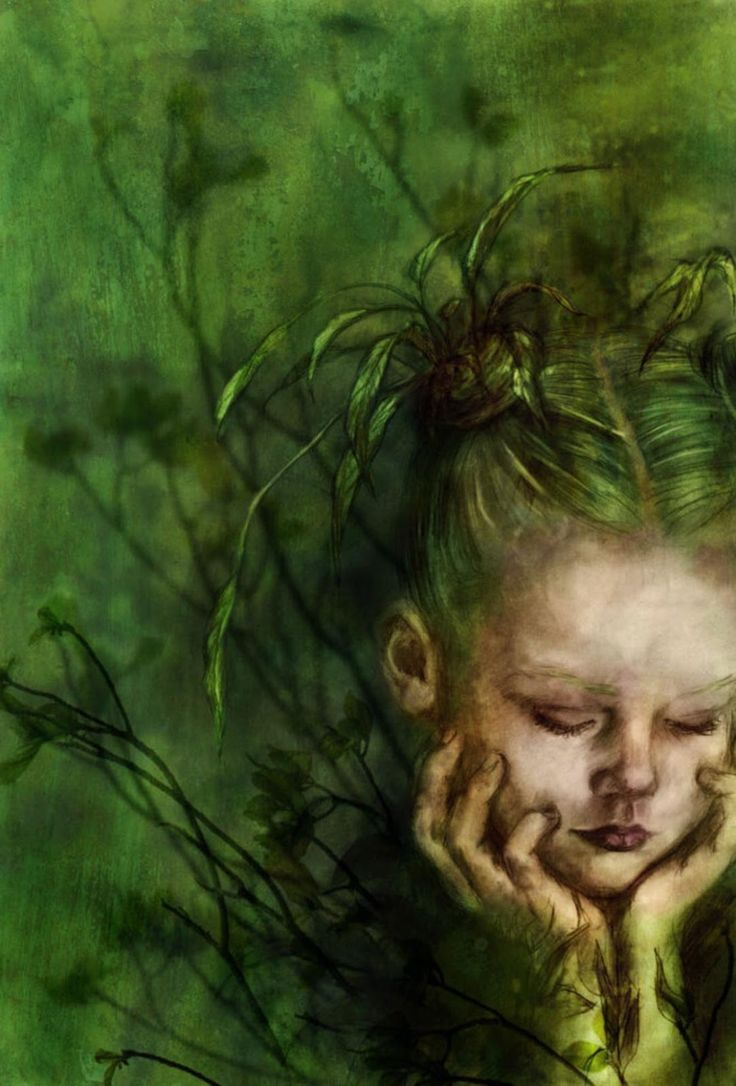 Green - verde - little girl - painting - pintura -  Beatriz Martin Vidal