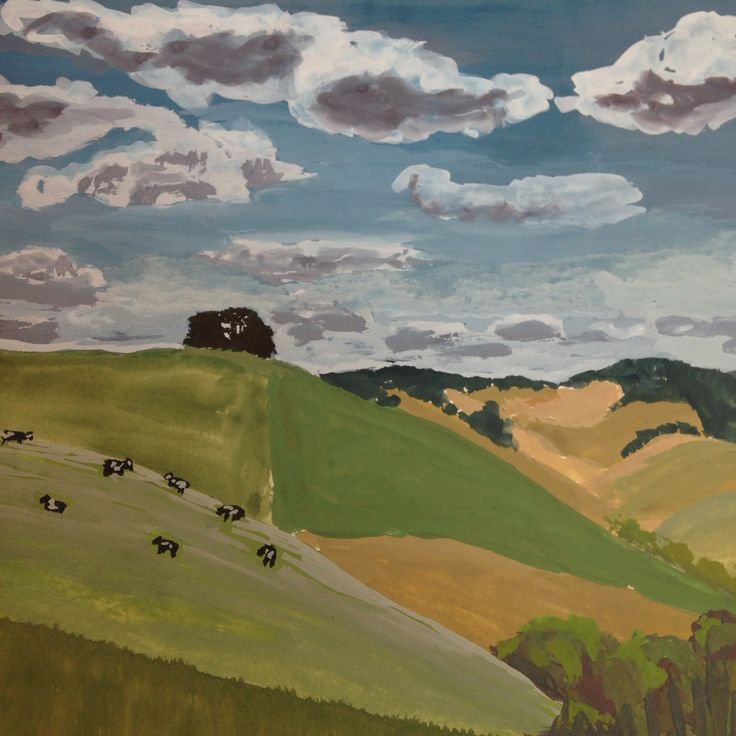 South Gippsland in summer- gouache on paper
