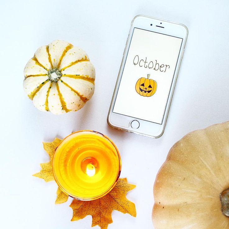 #flatlay #halloween #pumpkin #candle #iphone #october #fall #autumn