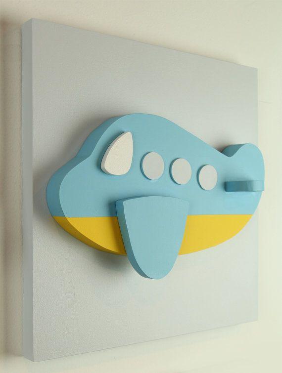Arte de la pared del avión 3D de madera para niños, plano transporte cuadros…