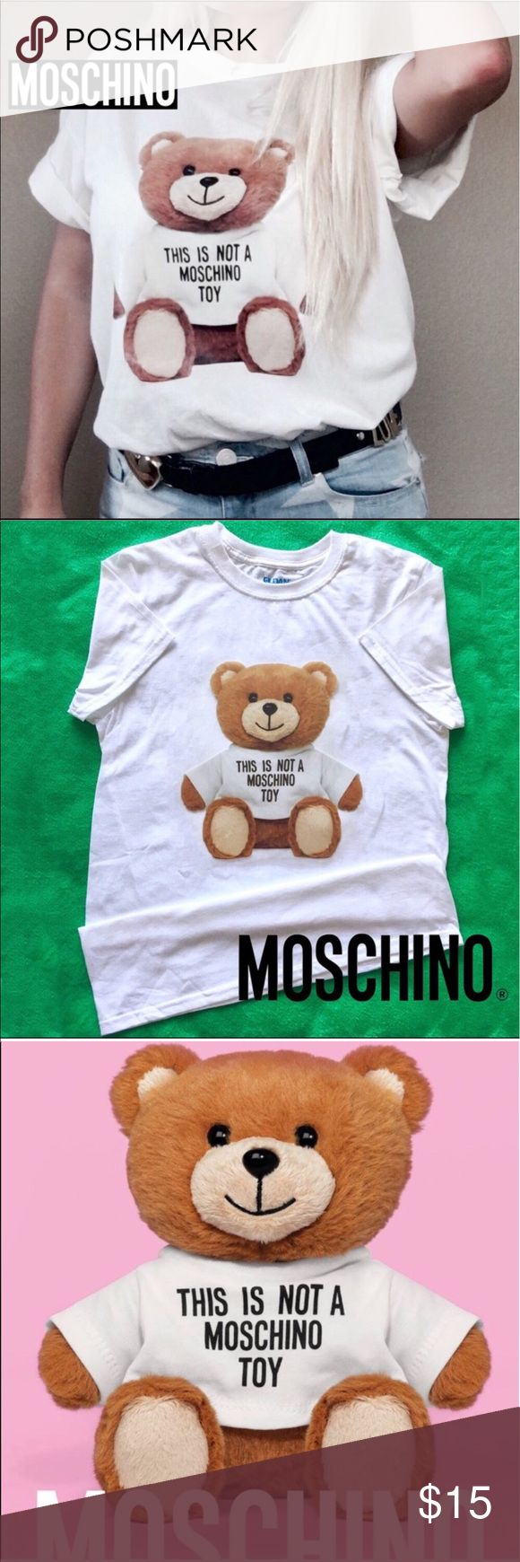 "‼️ALL TIME FAVORITE‼️🐻MOSCHINO® Tee🐻 🐻Moschino ® Toy Teddy T-Shirt🐻   Size: Moschino  MOSCHINO Teddy Bear t-shirt  Color: White Size: S (Loose style)   Realistic Large Teddy Bear ""THIS IS NOT A MOSCHINO TOY"" Brand New shirt!  