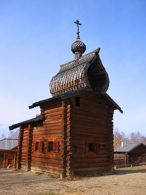 In open air museum of wooden architecture in Irkutsk, near
