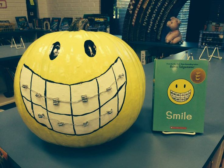 A pumpkin with pearly whites to honor 'Smile' by Raina Telgemeier.