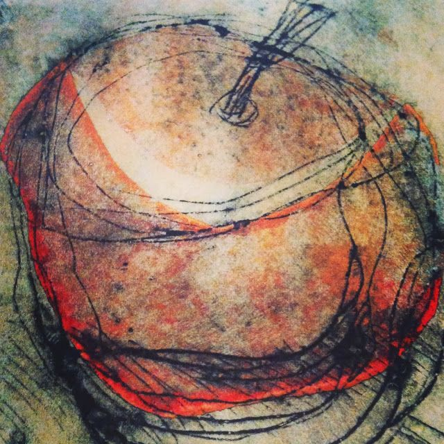Collograph print Jo Horswill. I'm thinking collage: newspaper, tissue, watercolor, pen and ink.