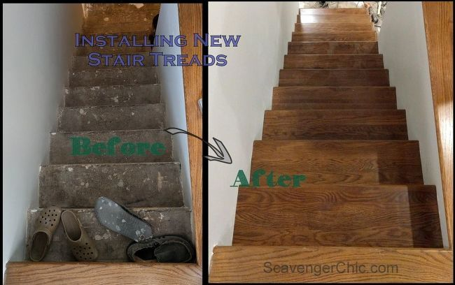 Best Weekend Project – Installing New Stair Treads Hardwood Stairs Basement Stairs Redo Stairs 640 x 480