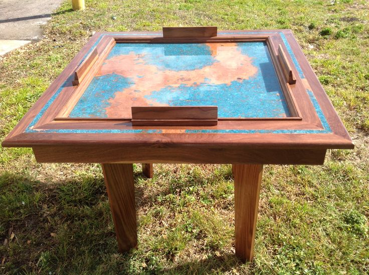 Solid walnut domino table with copper patina solid wood for Table th visible