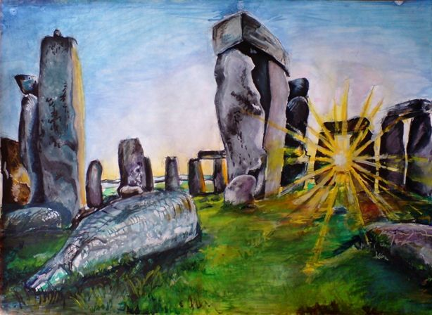 Sound of Silence, Stonehenge, tempera
