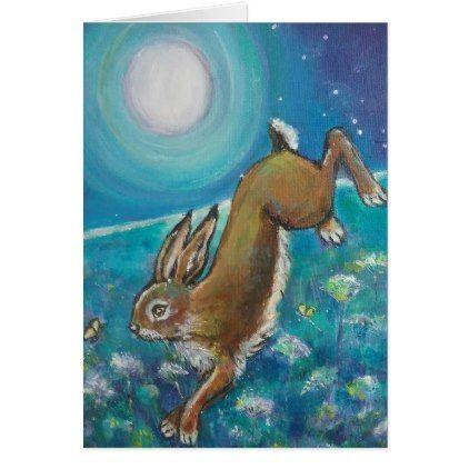 #Rabbit chasing fireflies card - #cute #gifts #cool #giftideas #custom