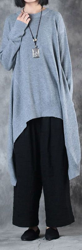 2017  design gray woolen blended sweater dresses oversize o neck casual knit dress